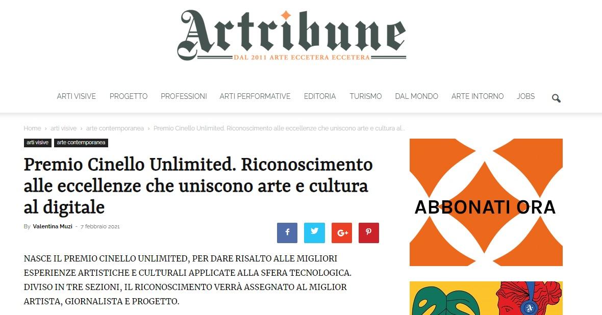 Premio Cinello Unlimited. Riconoscimento alle eccellenze che uniscono arte e cultura al digitale