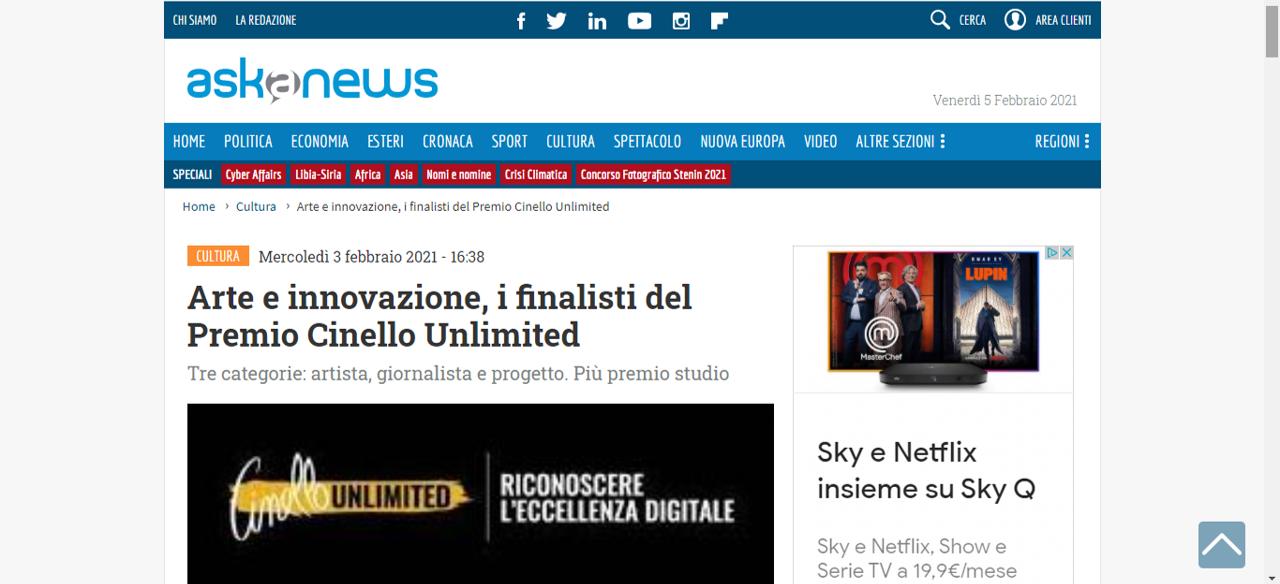 Arte e Innovazione, i finalisti del Premio Cinello Unlimited