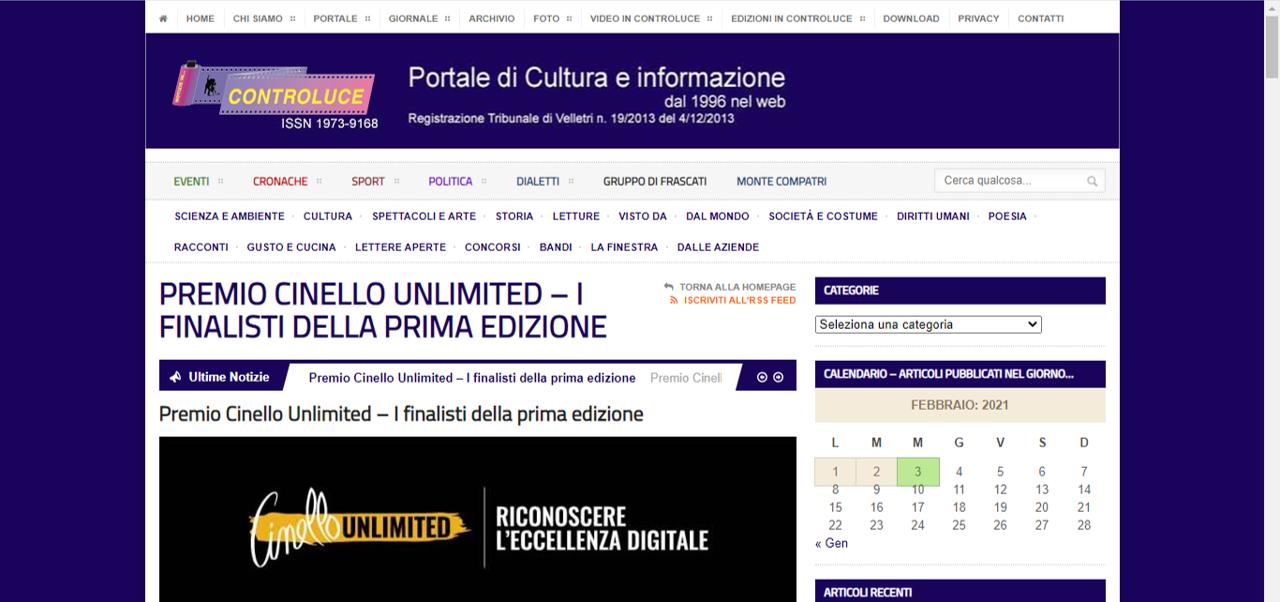 Premio Cinello Unlimited: i  finalisti della Prima Edizione